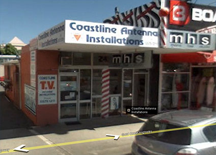 Google street view of Coastline Antenna premises at Mermaid Beach on the Gold Coast