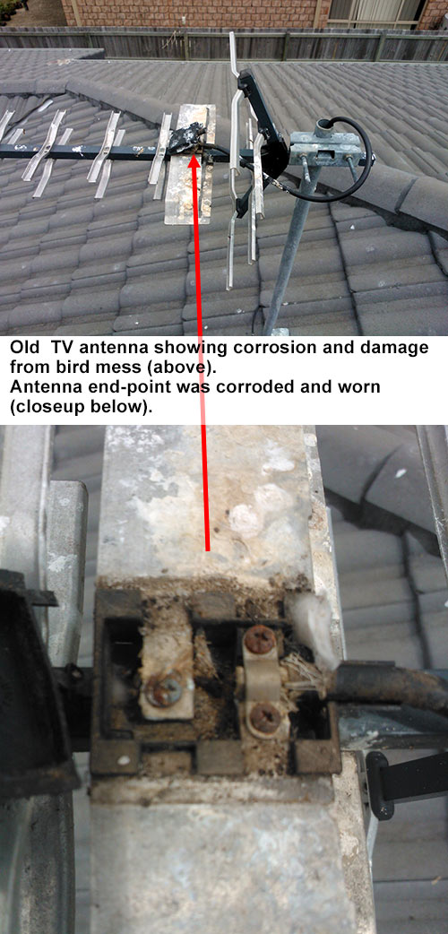 Old TV antenna showing corrosion, wear and damage